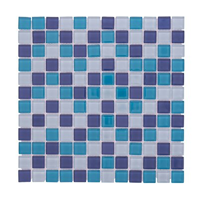 Crystal Pool 12 x 12 Glass Mosaic Backsplash Tile in Blue/White