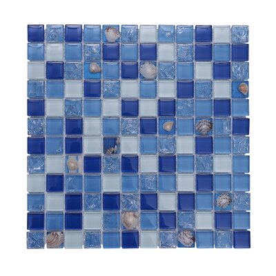 Florida Pool 12 x 12 Glass Mosaic Backsplash Tile in Blue (Set of 5)