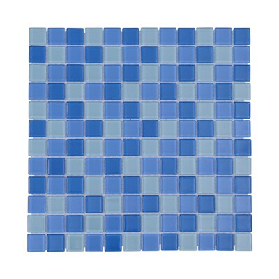 Crystal Pool 1 x 1 Glass Mosaic Tile in Blue/White