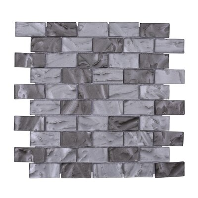Barcelona 3D Wavy Brick 1 x 2 Glass Subway Tile in Gray