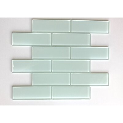 Granada Meshed Glass Subway 2 x 6 Glass Mosaic Tile in White