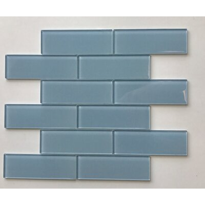 Granada Meshed Glass Subway 2 x 6 Glass Mosaic Tile in Platinum Blue
