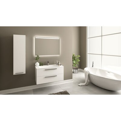 Nico 40 Single Bathroom Vanity Set with Metal Door Handle Base Finish: Glossy White