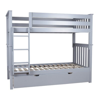Twin over Twin Bunk Bed with Trundle Bed Color: Gray