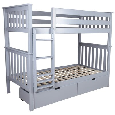Twin over Twin Bunk Bed with Under Bed Storage Drawer Color: Gray