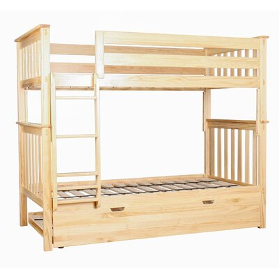 Twin over Twin Bunk Bed with Trundle Bed Color: Natural