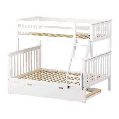 Solid Wood Twin Over Full Bunk Bed with Trundle Bed Finish: White