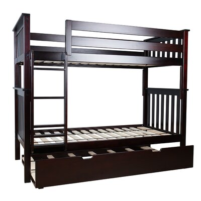 Twin over Twin Bunk Bed with Trundle Bed Color: Espresso 17-6201-005