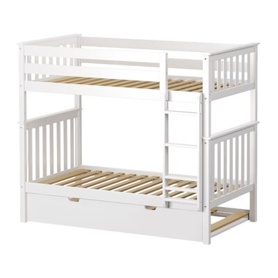Solid Wood Twin Bunk Bed with Trundle Bed Finish: White