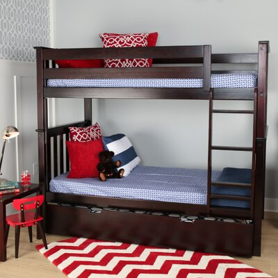 Solid Wood Twin Bunk Bed with Trundle Bed Finish: Espresso