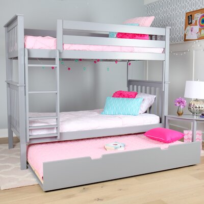 Solid Wood Twin Bunk Bed with Trundle Bed Finish: Gray
