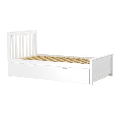 Solid Wood Twin Platform Bed with Trundle Frame Finish: White