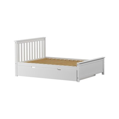 Solid Wood Full Platform Bed with Trundle Frame Finish: White