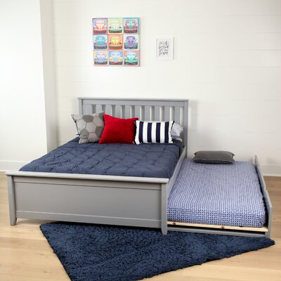 Solid Wood Full Platform Bed with Trundle Frame Finish: Gray