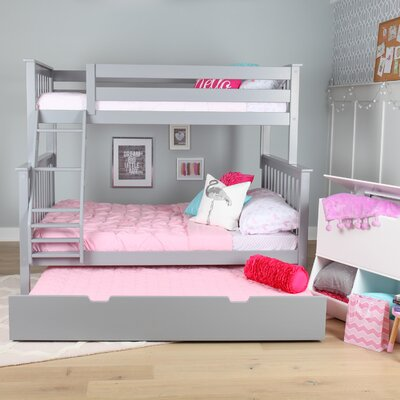 Solid Wood Twin Over Full Bunk Bed with Trundle Bed Finish: Gray