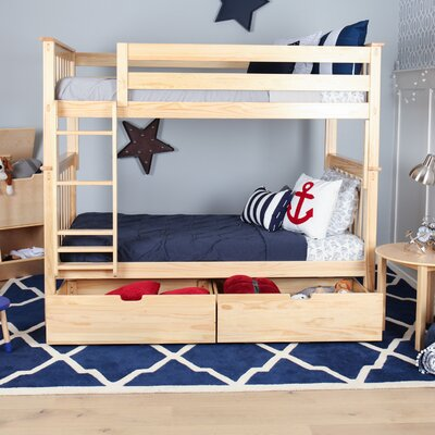 Twin over Twin Bunk Bed with Under Bed Storage Drawer Color: Natural