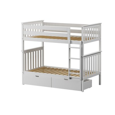 Solid Wood Twin Bunk Bed with Under Bed Storage Drawer Finish: White