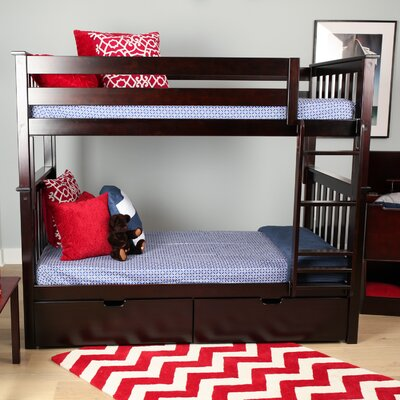 Solid Wood Twin Bunk Bed with Under Bed Storage Drawer Finish: Espresso