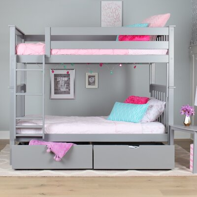 Solid Wood Twin Bunk Bed with Under Bed Storage Drawer Finish: Gray