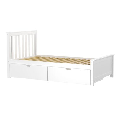 Solid Wood Twin Platform Bed with Under Bed Storage Drawer Finish: White