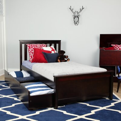 Solid Wood Twin Platform Bed with Under Bed Storage Drawer Color: Espresso