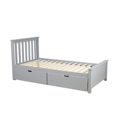 Solid Wood Twin Platform Bed with Under Bed Storage Drawer Finish: Gray