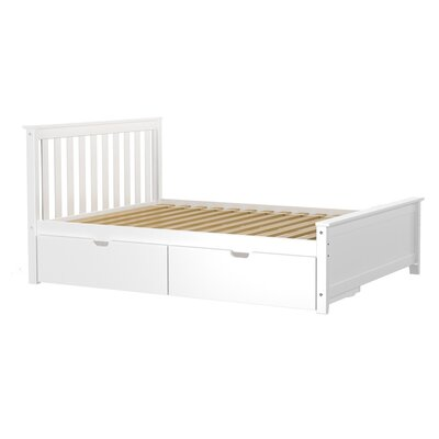 Solid Wood Full Platform Bed with Under Bed Storage Drawer Finish: White