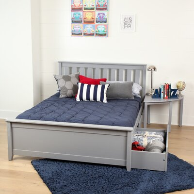 Solid Wood Full Platform Bed with Under Bed Storage Drawer Finish: Gray