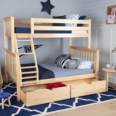 Solid Wood Twin Over Fulll Bunk Bed with Under Bed Storage Drawer Finish: Natural