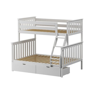 Solid Wood Twin Over Fulll Bunk Bed with Under Bed Storage Drawer Finish: White