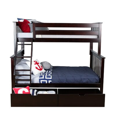 Solid Wood Bunk Bed with Under Bed Storage Drawer Size: Full over Full, Bed Frame Color: Natural