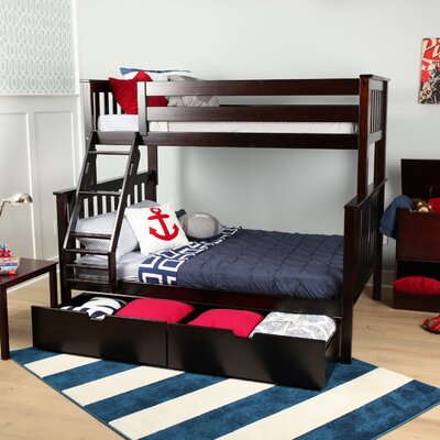 Solid Wood Twin Over Fulll Bunk Bed with Under Bed Storage Drawer Finish: Espresso