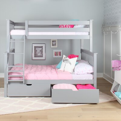 Solid Wood Twin Over Fulll Bunk Bed with Under Bed Storage Drawer Finish: Gray