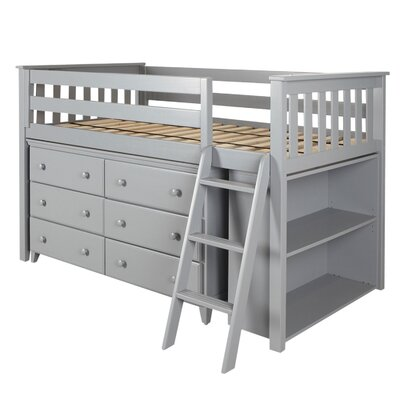 Twin Loft Bed with Dresser and Bookcase Color: Gray