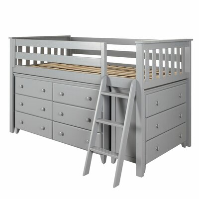 Twin Loft Bed with 2 Dresser Color: Gray