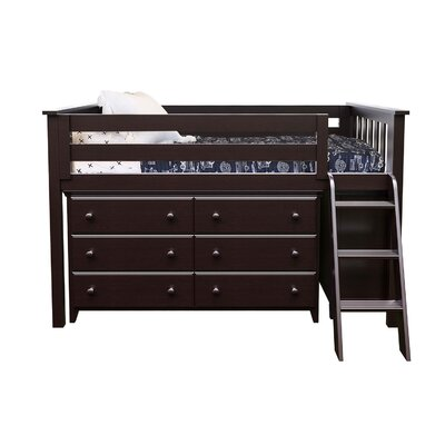 Twin Loft Bed with 2 Dresser Color: Espresso