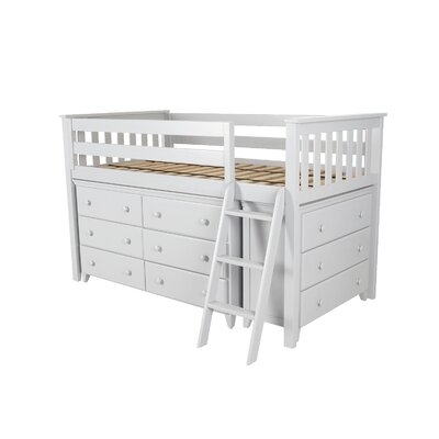 Twin Loft Bed with 2 Dresser Color: White