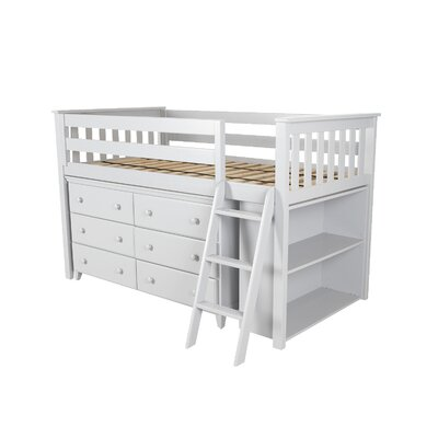 Twin Loft Bed with Dresser and Bookcase Color: White