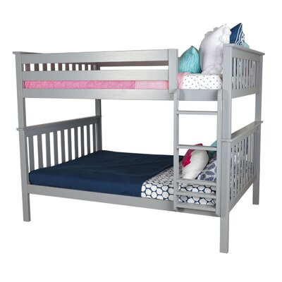 Solid Wood Bunk Bed Size: Twin over Full, Bed Frame Color: Gray