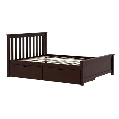 Solid Wood Full Platform Bed with Under Bed Storage Drawer Color: Espresso