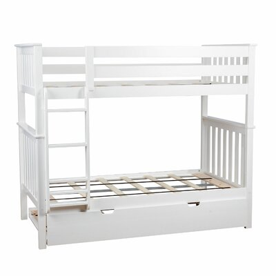 Twin over Twin Bunk Bed with Trundle Bed Color: White