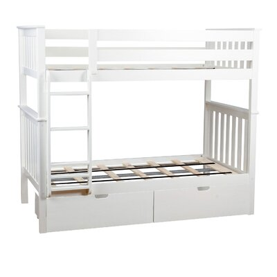 Twin over Twin Bunk Bed with Under Bed Storage Drawer Color: White
