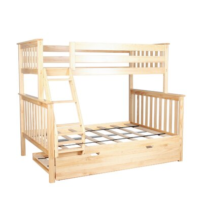 Solid Wood Bunk Bed with Trundle Bed Size: Twin over Full, Bed Frame Color: Natural