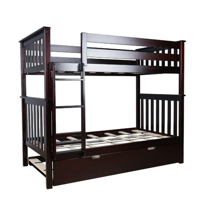 Twin over Twin Bunk Bed with Trundle Bed Color: Espresso