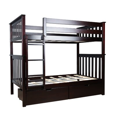Twin over Twin Bunk Bed with Under Bed Storage Drawer Color: Espresso