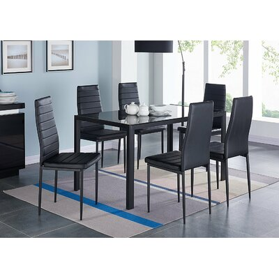 Modern Glass 7 Piece Dining Table Set Finish: Black