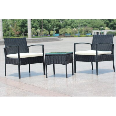 Compact Outdoor/Indoor Rattan Wicker 3 Piece Lounge Seating Group with Cushion
