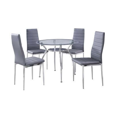 Metal Frame 5 Piece Dining Set Upholstery Color: Gray
