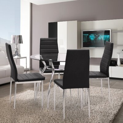 Metal Frame 5 Piece Dining Set Upholstery Color: Black