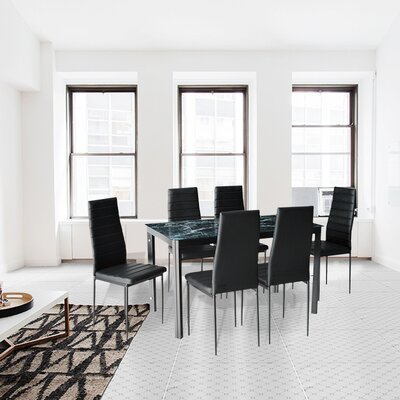 Modern Glass 7 Piece Dining Table Set Finish: Marble